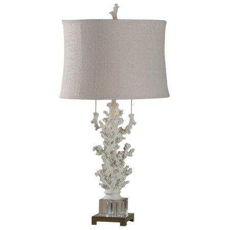 Palm Buffet Table Lamp - Palm Harbor Table Lamp - Beige Shade - Crystal Glass