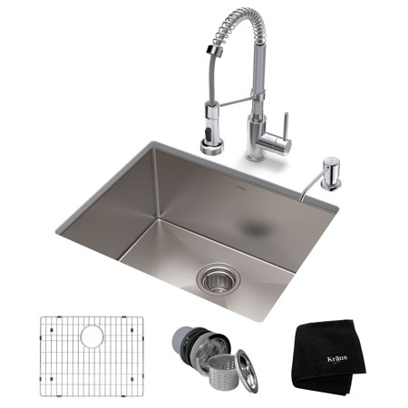 Kraus Kitchen Set With Standart Pro Stainless Steel Farmhouse Kitchen Sink And Bolden Commercial Pull Down Kitchen Faucet In Chrome