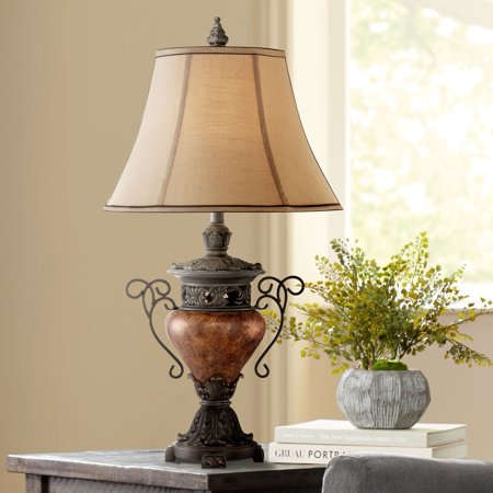Regency Hill Traditional Table Lamp Bronze Crackle Urn Faux Silk Bell Shade for Living Room Family Bedroom Bedside Nightstand