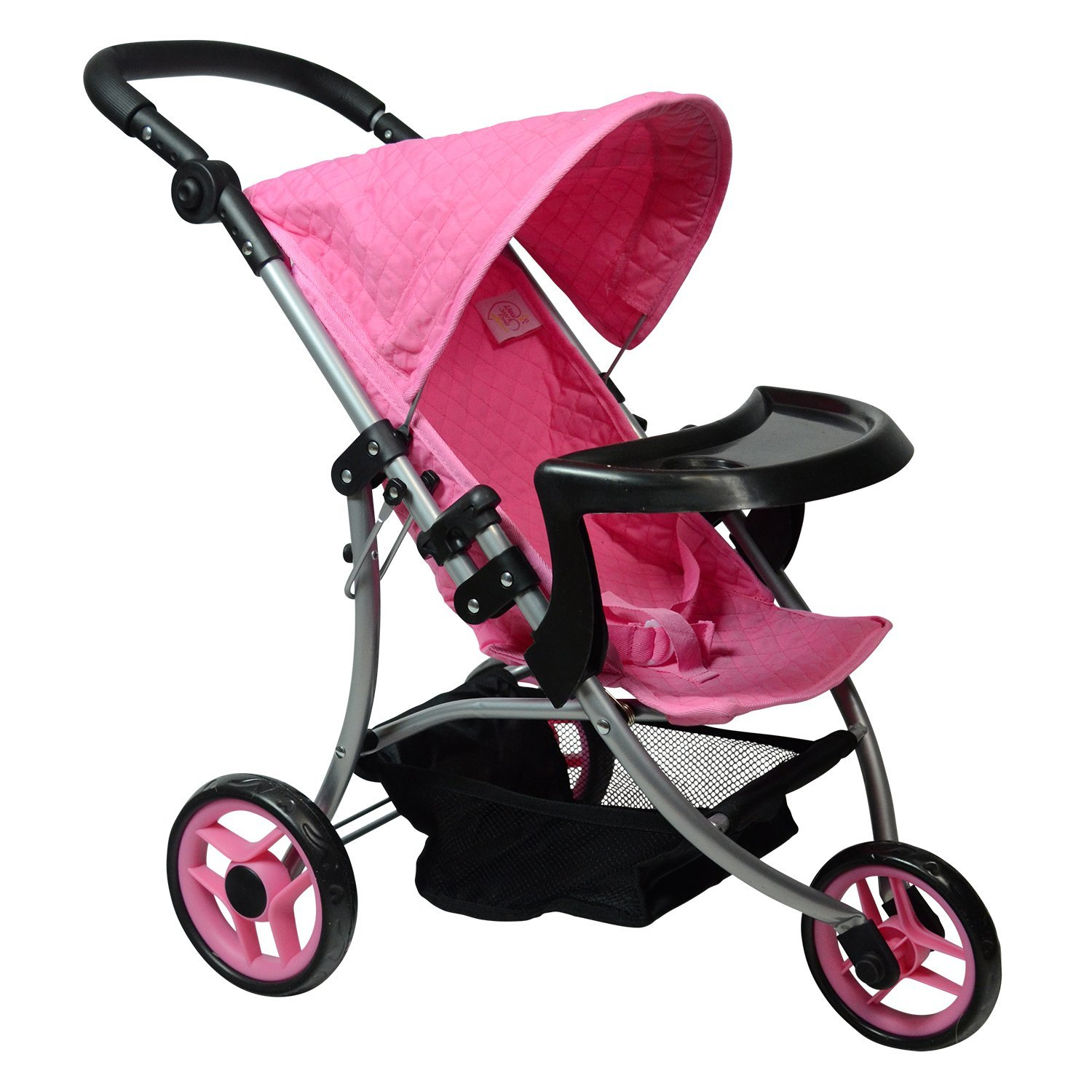 Modern Doll Jogging Stroller - SUPERIOR QUALITY Quilted Fabric- NEW LUXURY COLLECTION - Ages 2+- Stroller for 18 inch Dolls (Pink)