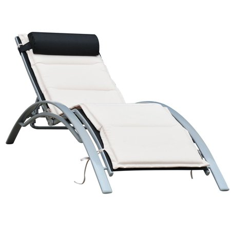 Black Patio Lounge Chair - Outsunny Patio Reclining Chaise Lounge Chair with Cushion - Black and Cream White