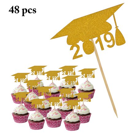 48PCS 2019 Graduation Cake Topper, 2019 Doctorial Hat Cupcake Topper Cake Decoration Graduation Party Supplies(Black/Golden)](Amazon Halloween Cake Decorations)