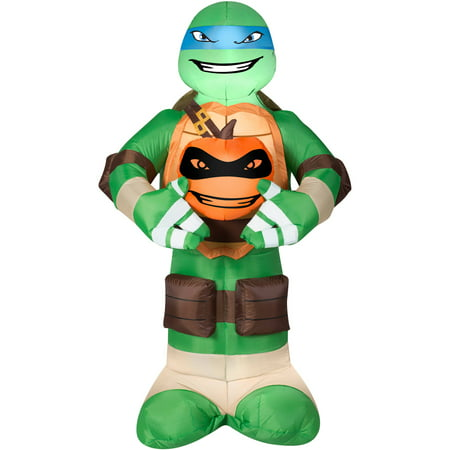 Gemmy Airblown Inflatable 5' X 3' Teenage Mutant Ninja Turtles Leonardo with Pumpkin Halloween Decoration