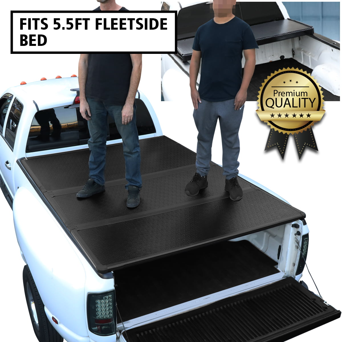 For 2015 To 2018 Ford F150 Truck 5 5ft Short Bed Hard Solid Tri Fold Clamp On Tonneau Cover 16 17 Walmart Com Walmart Com