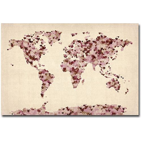 "Trademark Art ""Vintage Hearts World Map"" Canvas Art by Michael Tompsett"