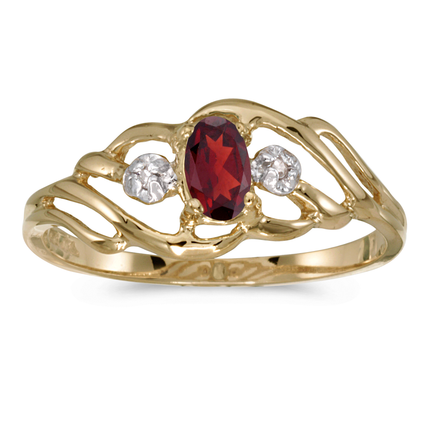 10k Yellow Gold Oval Garnet And Diamond Ring by