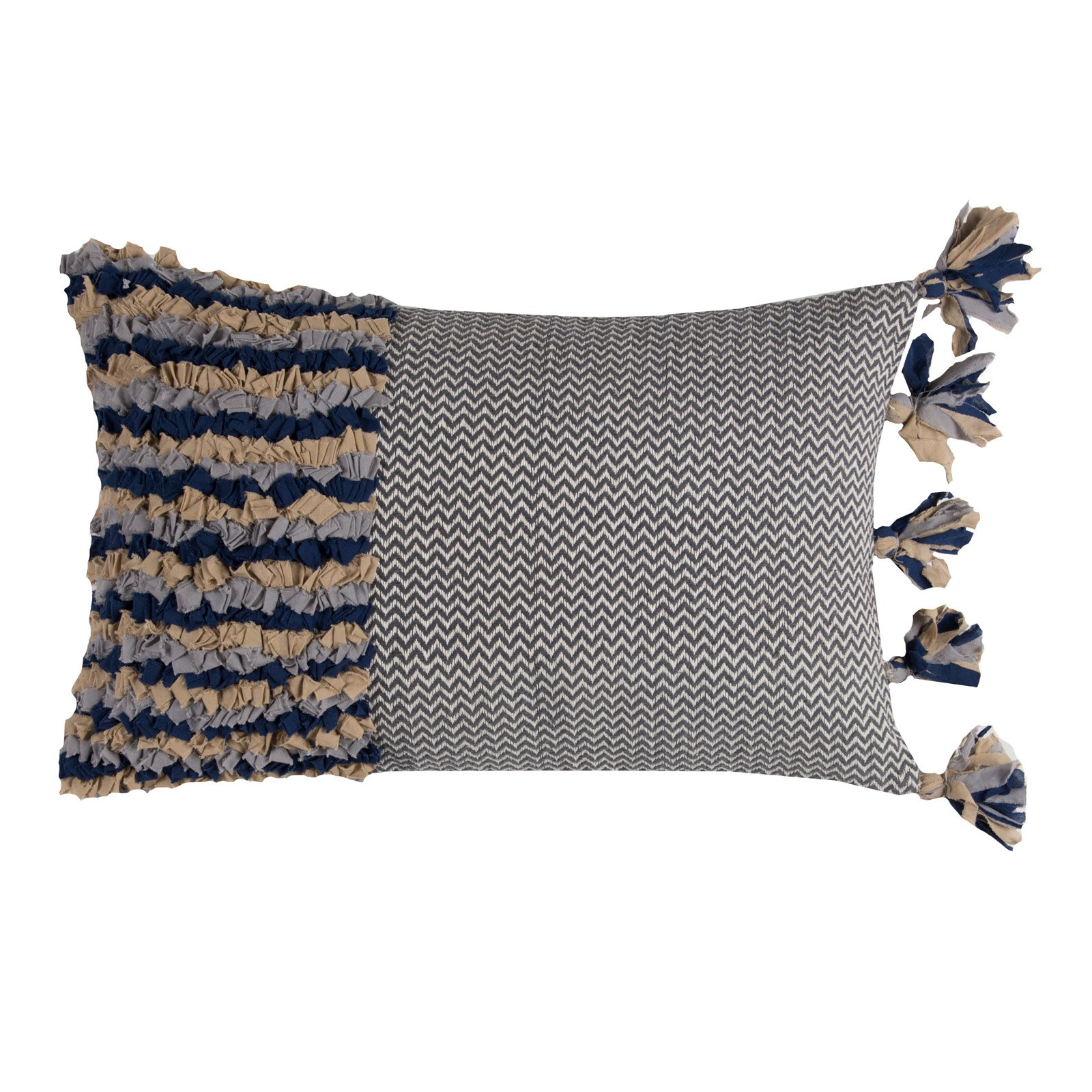 "Rizzy Home Decorative Poly Filled Throw Pillow Stripes And Ditsy With Tassels 11""X21"" Dark Blue"