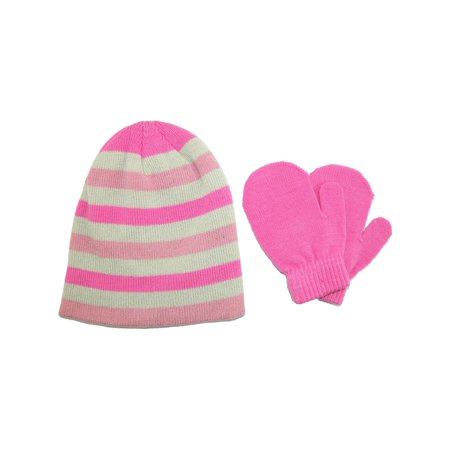 Toddler Girls' 2-4 Acrylic Knit Striped Hat and Mitten Set