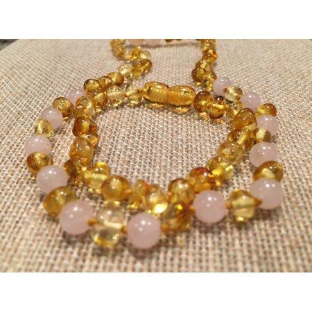 Baltic Amber Teething Necklace Bracelet SET Polished Lemon Pink Rose Quartz 12.5 inch Necklace, 5.5 inch Bracelet for Baby Toddler
