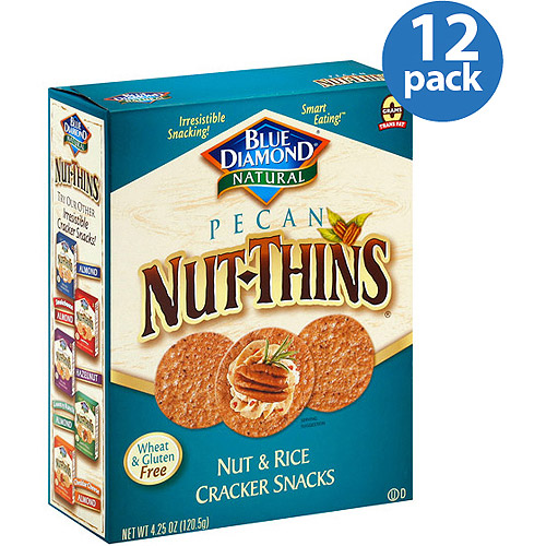 Blue Diamond Natural Pecan Nut-Thins Nut & Rice Cracker Snacks, 4.25 oz, (Pack of 12)