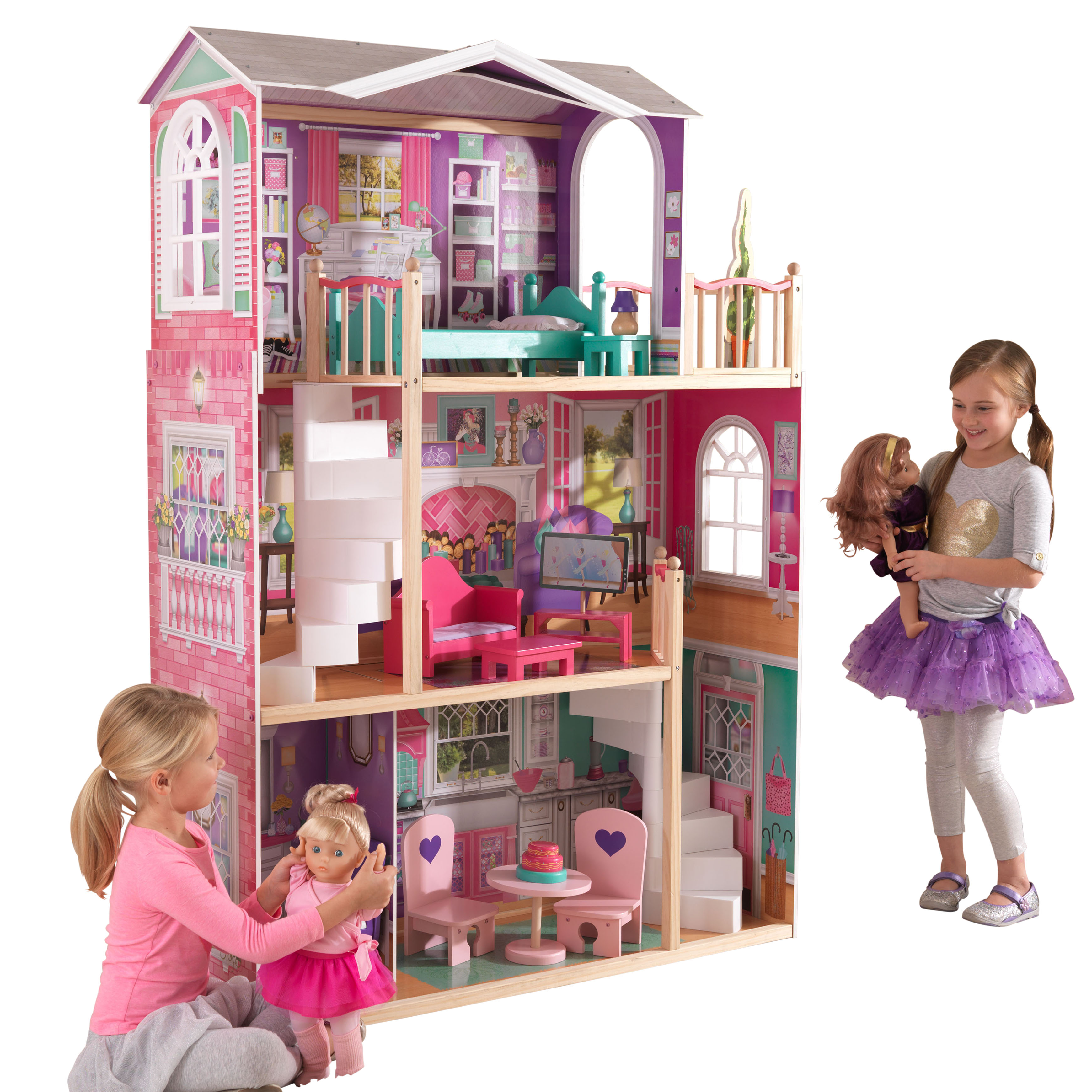 KidKraft 18-Inch Dollhouse Doll Manor with 12 accessories included by KidKraft
