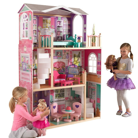 KidKraft 18-Inch Dollhouse Doll Manor with 12 accessories included Dollhouse Womens Rock