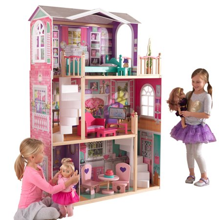 kidkraft 18 inch dollhouse doll manor with 12 accessories included. Black Bedroom Furniture Sets. Home Design Ideas