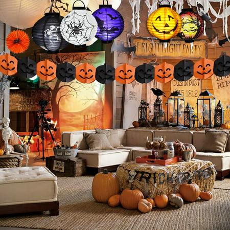 Pumpkin Halloween Decorations Paper Lanterns with LED Light, pack of 6 - Jointed Banner, Jack-o-Lantern Spider Bat Skeleton castle Lamp Light Theme Party Favors F-184