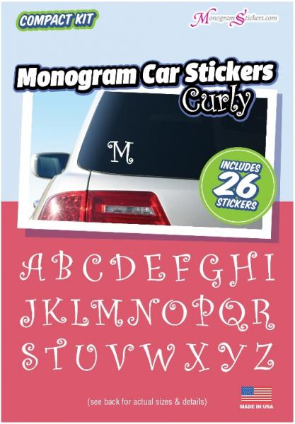 Monogram car stickers curly compact kit with 26 stickers