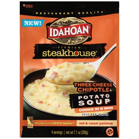 (4 Pack) Idahoan Steakhouse Three Cheese Chipotle Potato Soup Mix, 7.1 oz
