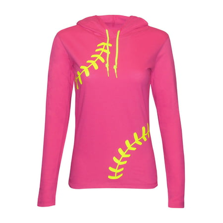 Zone Apparel Softball Women's Hoodie T-Shirt - Laces - Small (Best Batting Tee For Softball)