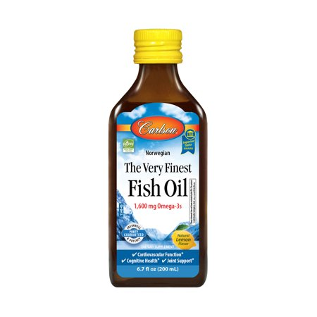 Carlson Norwegian The Very Finest Fish Oil Liquid, 1600 mg Omega-3, Lemon, 6.7 Fl