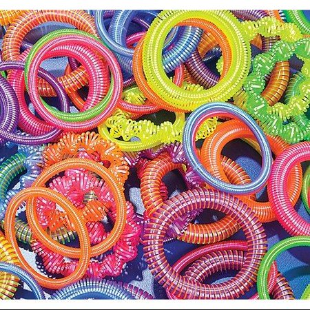 - 12 ~ Plastic Coil Spring Bracelets ~ Assorted Colors / Shapes ~ New ~ Party Favors, Prizes, Play Jewelry