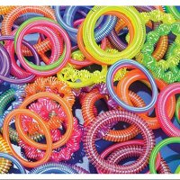 12 ~ Plastic Coil Spring Bracelets ~ Assorted Colors / Shapes ~ New ~ Party Favors, Prizes, Play Jewelry