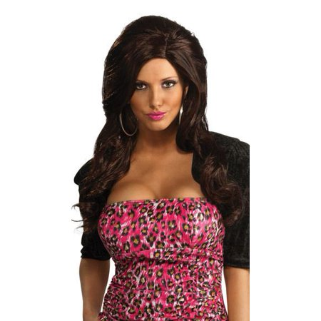 SNOOKI jersey shore brown brunette long hair WIG adult womens halloween costume