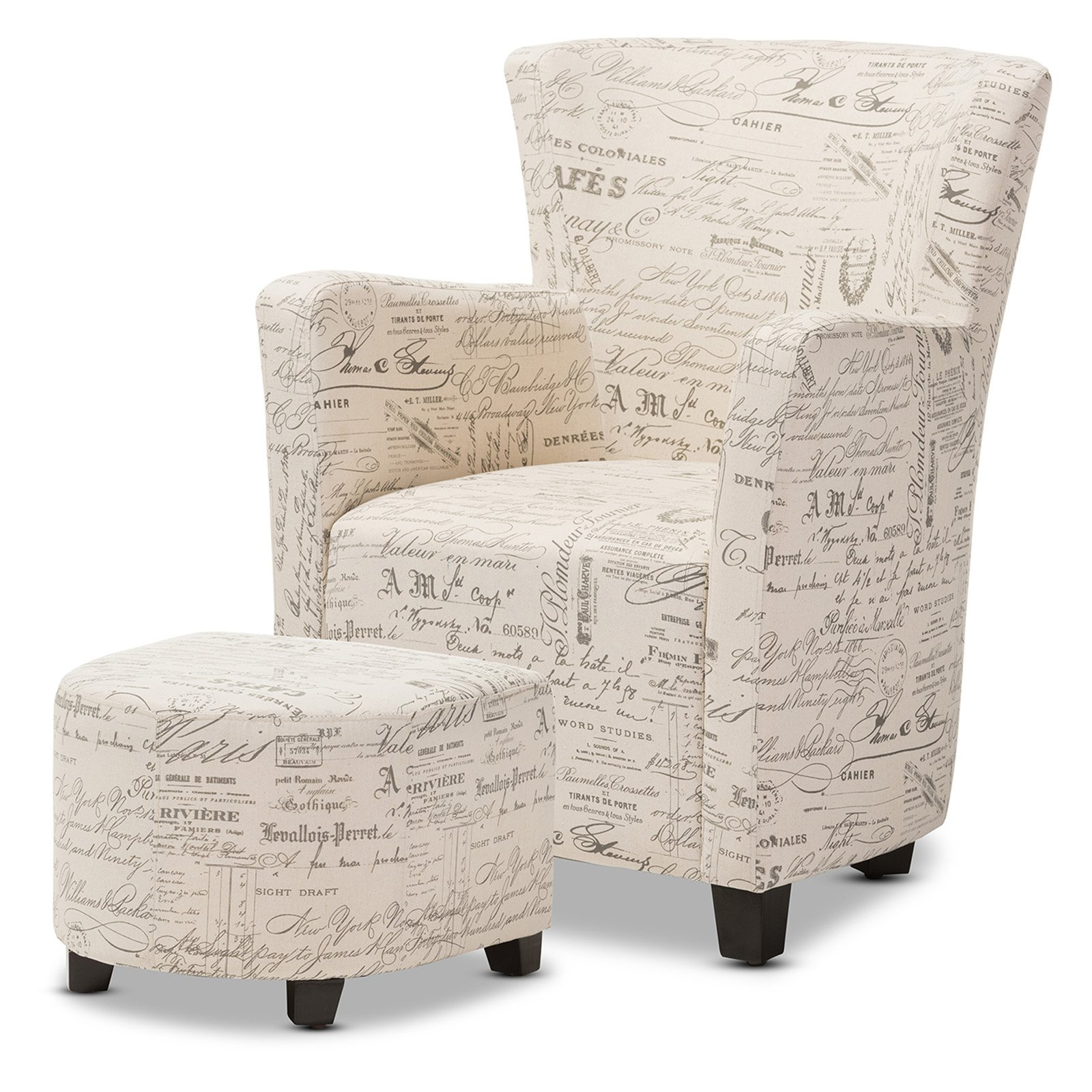 Baxton Studio Benson French Script Patterned Fabric Club Chair and Ottoman Set by Overstock