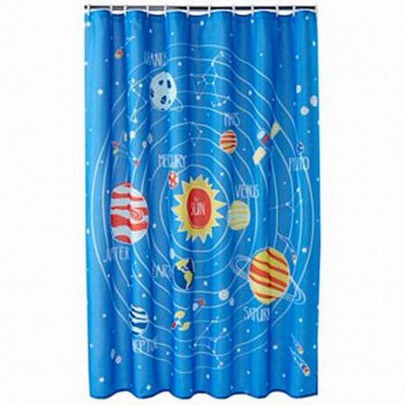 Jumping Beans Blue Blast Off Space Planets Fabric Shower Curtain Kids Bath