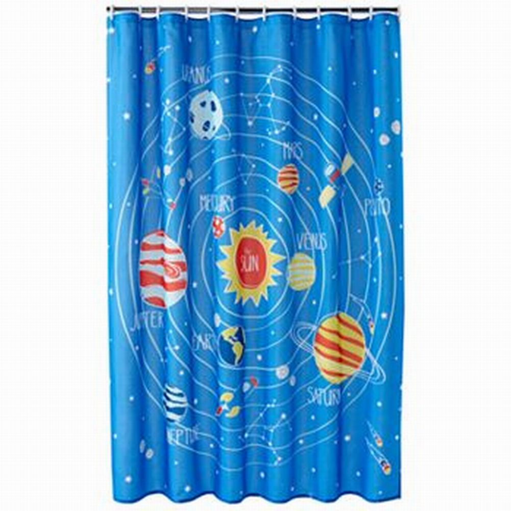 Jumping Beans Blue Blast Off Space & Planets Fabric Shower Curtain Kids Bath