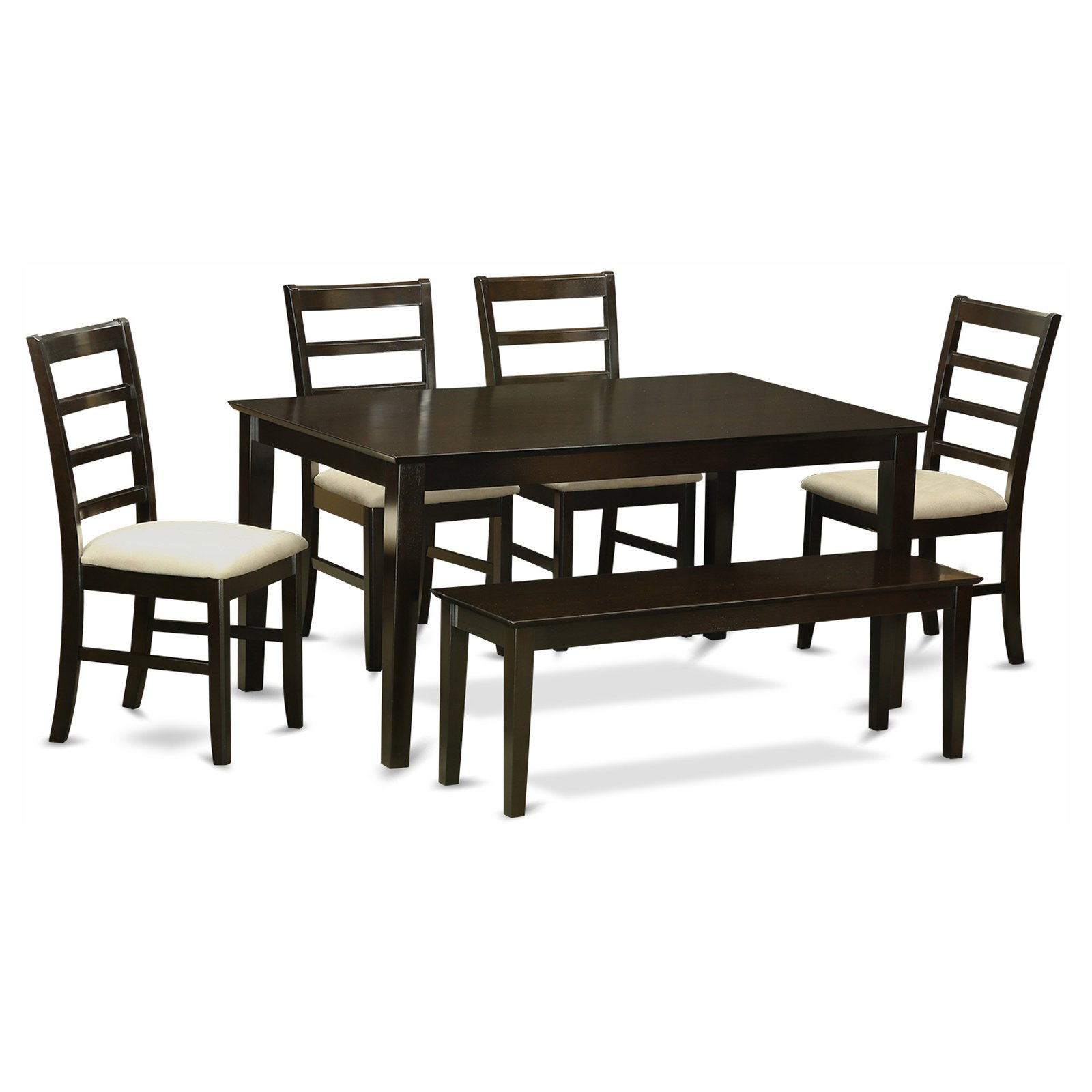 East West Furniture Capris 6 Piece Rectangular Dining Table Set with Parfait Microfiber Seat Chairs