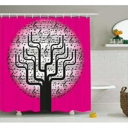 Music Shower Curtain Tree With Symbols Artistic Nature Harmony Rhythm Illustration Fabric Bathroom Set Hooks Hot Pink Black White