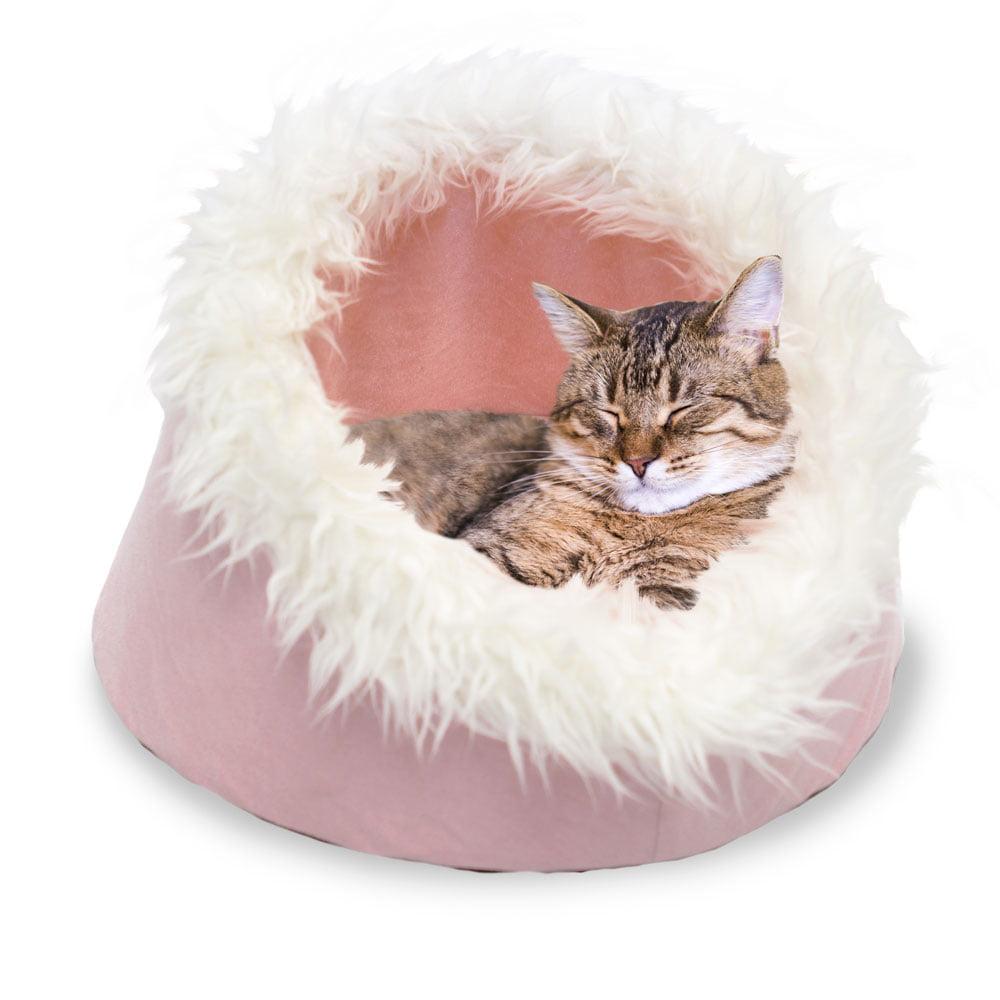 DUPLICATE- FurHaven Pet Cat Bed | Cat Cave Pet Bed, Blush Pink, 18-inch Base