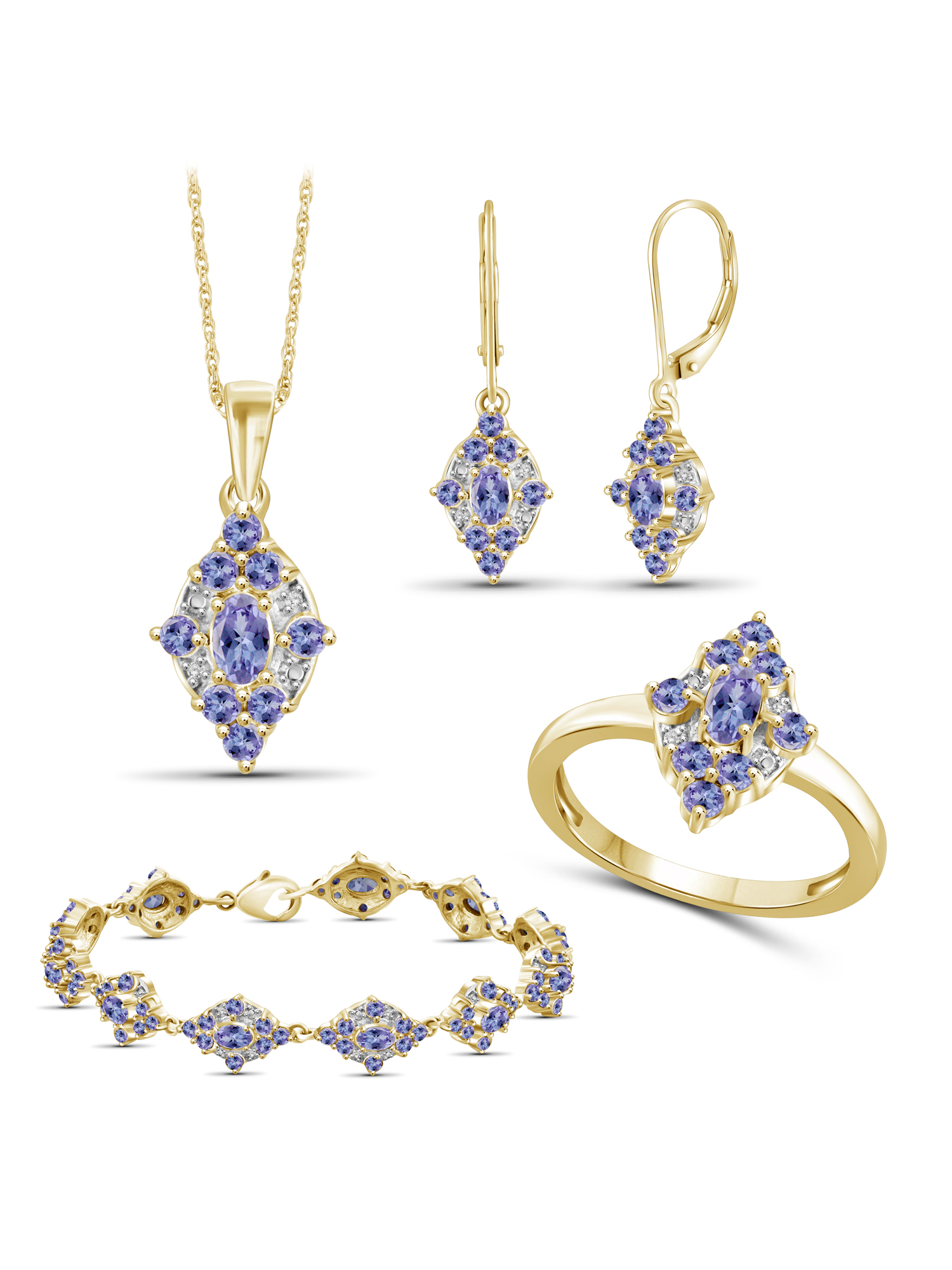 JewelersClub 8 1/2 Carat T.G.W. Tanzanite And White Diamond Accent 14k Gold Over Silver 4-Piece Jewelry set