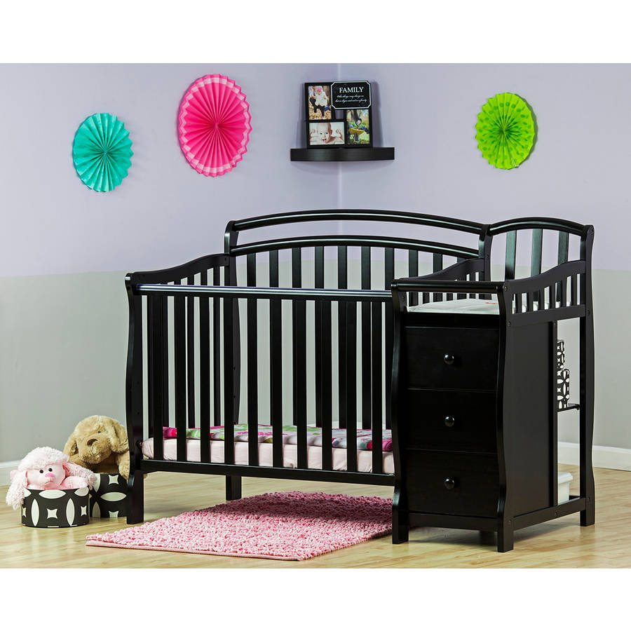 Dream On Me Casco 4-in-1 Mini Crib And Dressing Table, Black
