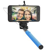 """Circuit City Wired Extendable Selfie Stick with Remote Control Handle Extra-Long 42"""" Extending Monopod with Lanyard Steel Telescoping Phone Holder for iPhone 6, 5, 4, Samsung S6, S5 & More (Blue)"""