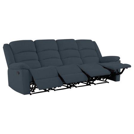 Prolounger Velvet 4 Seat Low Pile Recliner Sofa Walmart Com