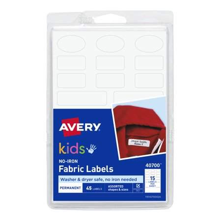 Avery No-Iron Clothing Labels, Assorted Shapes & Sizes, 45 Labels Make sure clothing always gets returned to its rightful owner with these no-iron kids clothing labels. They're great for labeling clothing like jackets, t-shirts, school uniforms, baby clothing, PE uniforms, hoodies and more. They also work great on baseball caps, blankets, lunch boxes, backpacks, tennis shoes and other fabric items. The assorted pack includes oval labels and three sizes of rectangle labels. Just write on the no-iron labels with a permanent marker, peel and stick. The labels work with many fabrics and are durable enough to withstand multiple washer and dryer cycles. Keep your kids' clothing out of the lost and found with these no-iron name and daycare labels.