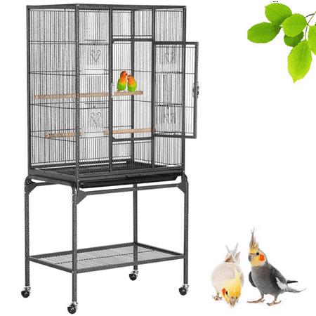 Parrot Supplies (Yaheetech 53.7'' Bird Cage with Stand Wrought Iron Construction Quaker Parrot Cockatiel Sun Parakeet Green Cheek Conure Lovebird Budgie Finch Canary Bird Flight)