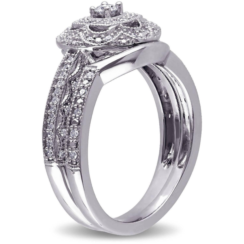 Miabella 1 3 Carat Diamond Sterling Silver Halo Bridal Set by Delmar Manufacturing LLC