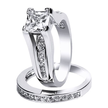 Cut Cubic Zirconia Wedding Ring (2.10 Carat TCW Classical Princess Cut CZ 925 Sterling Silver Wedding Rings Bridal)