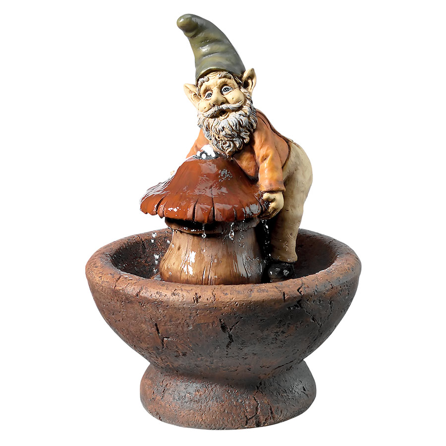 Manny and His Mushroom Cascading Garden Gnome Fountain by Design Toscano