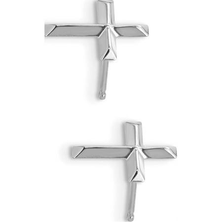 14k White Gold White Madi K Cross Post (6x8mm) Earrings - image 1 of 3