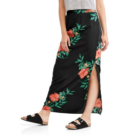 (Derek Heart Juniors' Smocked Maxi Skirt with Slit)