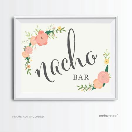 Nacho Bar Floral Roses Wedding Party Signs - Nacho Bar Toppings