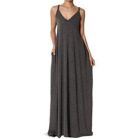 14ed8fc57c8 TheMogan Women s V-Neck Draped Jersey Casual Beach Cami Long Maxi Dress W  Pocket - Walmart.com