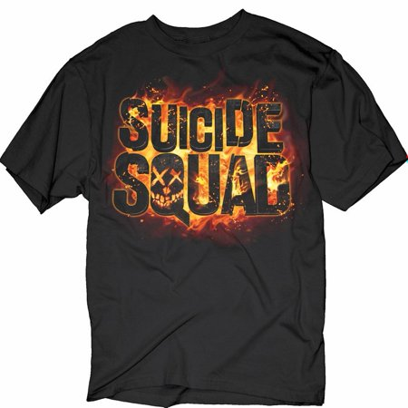 Unisex Adult Suicide Squad Flames Logo - Black Short Sleeve T-Shirt