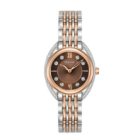 98R230 Women's Diamonds Brown Dial Two Tone Steel Watch