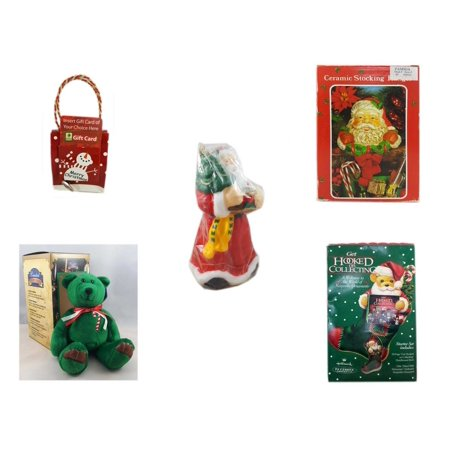 Christmas Fun Gift Bundle [5 Piece] - Musical Gift Card Holder Snowman - Vintage Designed Stocking Hanger Santa - Wax Santa Candle 7