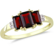 1-5/8 Carat T.G.W. Garnet and Diamond-Accent 10kt Yellow Gold Three-Stone Ring