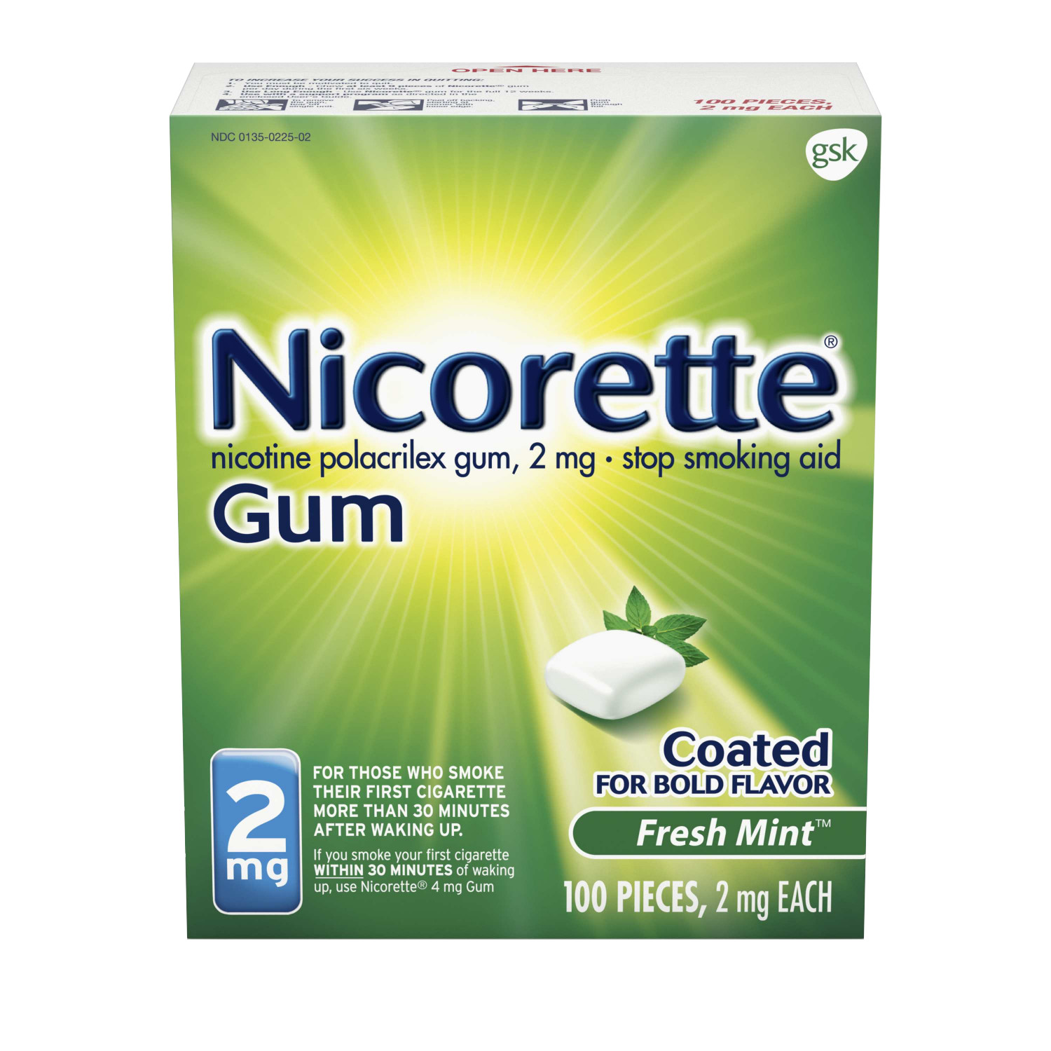 Nicorette Nicotine Gum, Stop Smoking Aid, 2 mg, Fresh Mint Flavor, 100 count