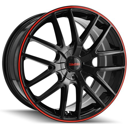 "Touren TR60 17x7.5 5x100/5x4.5"" +42mm Black/Red Wheel Rim 17"" Inch"